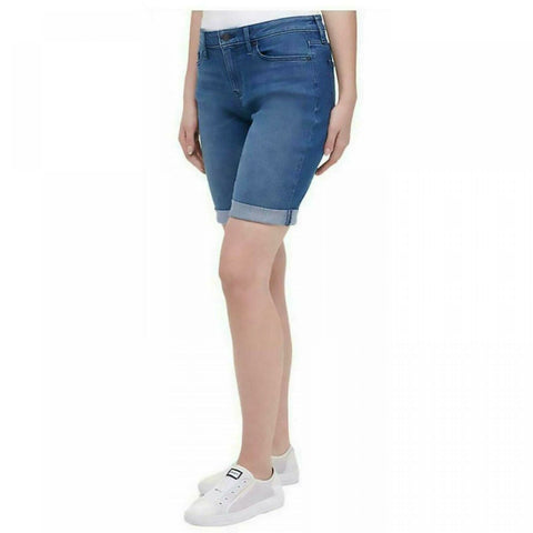 DKNY Jeans Women's Roll Cuff Denim Bermuda Shorts