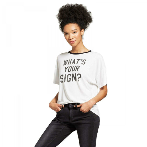 Modern Lux Women's WHAT'S YOUR SIGN? Ringer Graphic T-Shirt