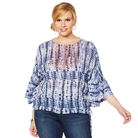 Curations Women's Plus Size Tie Dye Peasant Top