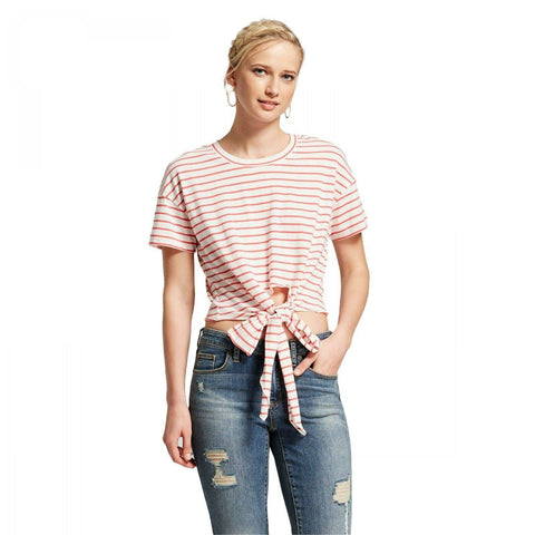 Xhilaration Women's Relaxed Fit Striped Short Sleeve Tie Front Knit Top
