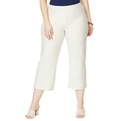 MarlaWynne WynneLayers Women's Plus Size Straight Cropped Crepe Pants