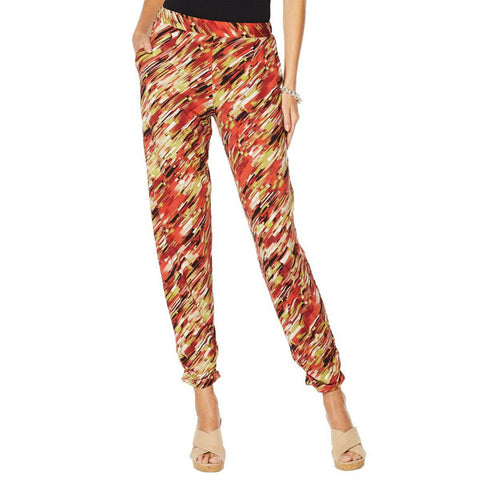 Antthony Women's Plus Size Culturally Styled Printed Pull On Pants