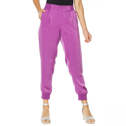 DG2 by Diane Gilman Signature Women's Faux Silk Pull-On Jogger Pants