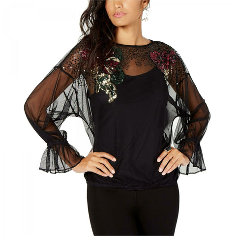 Thalia Sodi Women's Embellished Mesh Top. 100041567