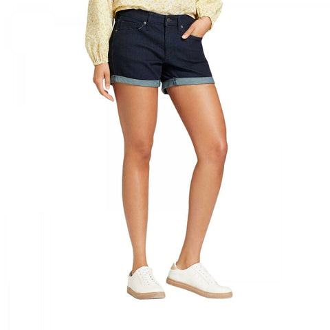 Universal Thread Women's Mid-Rise Rolled Hem Midi Denim Jean Shorts