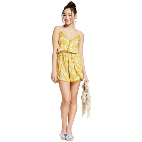 Xhilaration Women's Floral Print Strappy Romper with Pom Trim