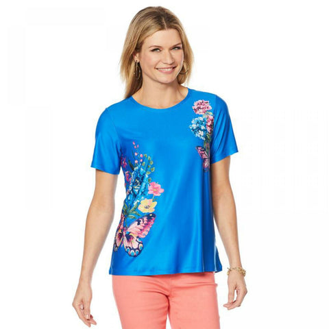 DG2 by Diane Gilman Women's Anniversary Printed Floral Butterfly T-Shirt