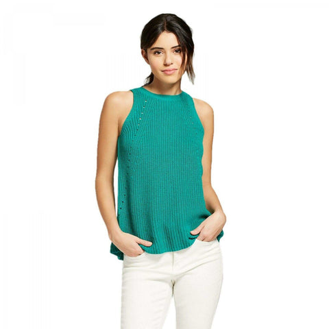 Universal Thread Women's Envelope Back High Neck Sleeveless Sweater