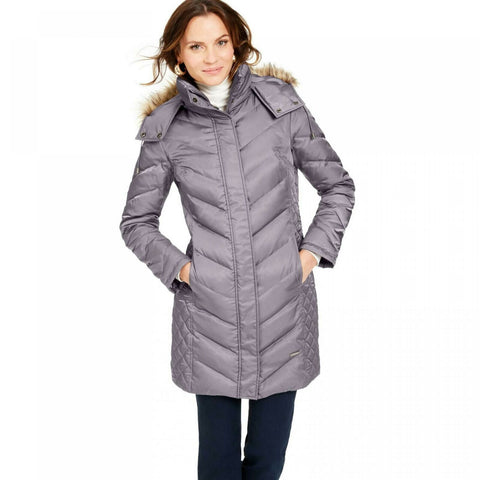 Kenneth Cole Women's Faux Fur Trim Hooded Down Puffer Coat