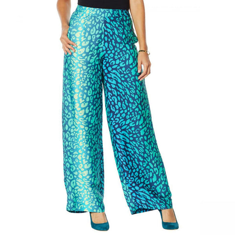 IMAN Women's Boho Chic Printed Wide Leg Pants With Pockets