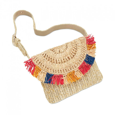 INC International Concepts Women's Straw Fringe Belt Bag