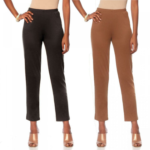 Slinky Brand Women's Plus Size 2 Pack Knit Ponte Skinny Pants