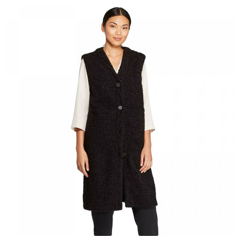 Prologue Women's Sleeveless Deep V-Neck Front Button Longline Sherpa Vest