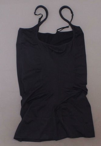 Rhonda Shear Women's Plus Size Wear Your Own Bra Mid Thigh Bodysuit Black 1X