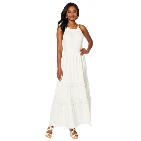 Curations Women's Sleeveless Maxi Dress With Lace Trim