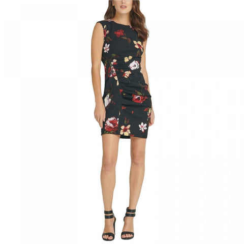 DKNY Women's Floral Print Sleeveless Ruched Sheath Dress