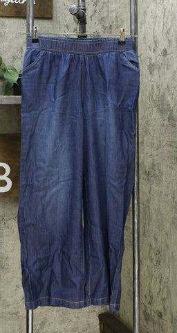 DG2 by Diane Gilman Women's Petite SoftCell Chambray Wide Leg Pants Indigo PS