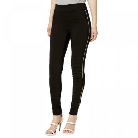 INC International Concepts Women's Curvy Satin Contrast Skinny Pants