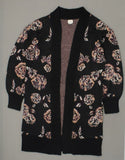 A New Day Women's Floral Bishop Sleeve Open Cardigan Sweater