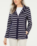 Karen Scott Women's Petite Striped Notched-Collar Jacket Navy Blue PL