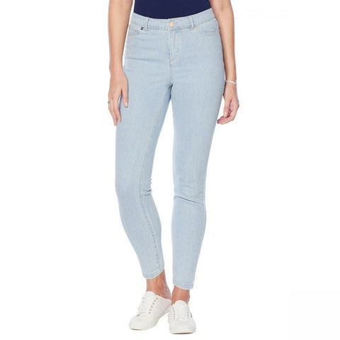 Lemon Way Women's Railroad Striped Skinny Jeans