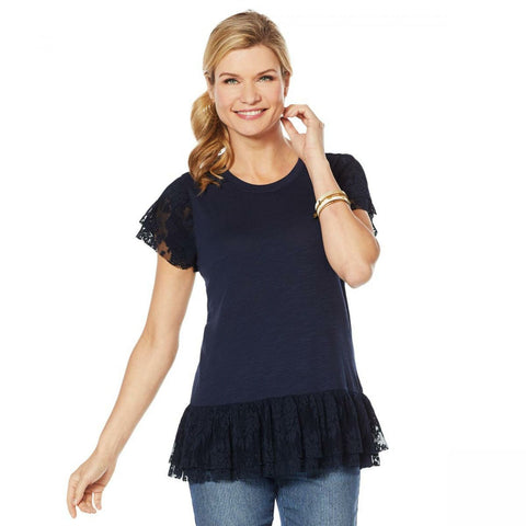DG2 by Diane Gilman Women's Slub Knit Lace Detail Ruffle Top