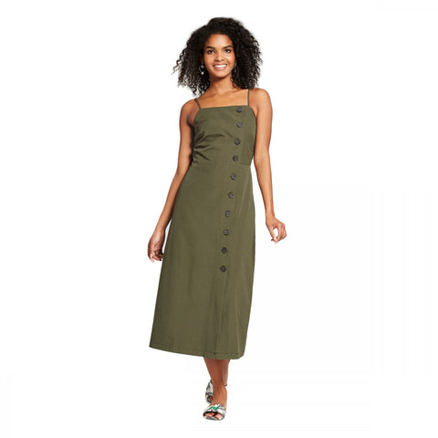 Who What Wear Women's Sleeveless Button Down Slip Dress