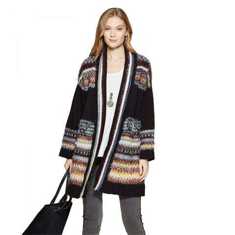 Knox Rose Women's Long Sleeve Jacquard Cardigan Sweater