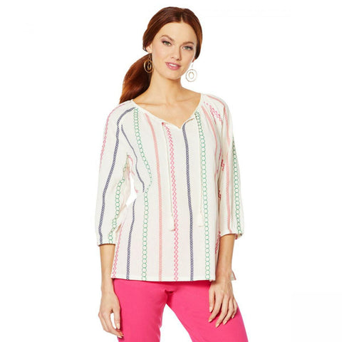 Lemon Way Women's Plus Size Tie Tassel Front Striped Peasant Blouse