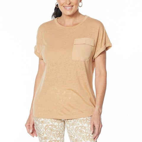 DG2 by Diane Gilman Women's Burnout Slub Jersey Knit Pocket T-Shirt