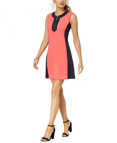 Tommy Hilfiger Women's Colorblocked A-Line Dress. A8UC1AX1 Coral / Navy 12