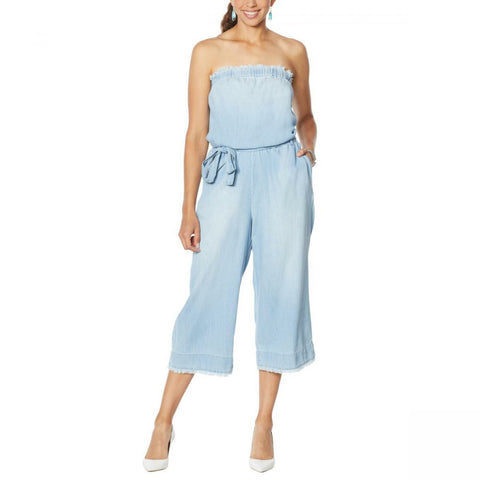 Colleen Lopez Women's Strapless Belted Chambray Denim Jumpsuit