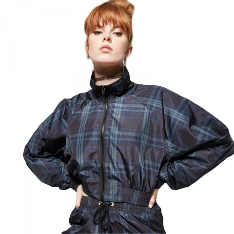 Wild Fable Women's Plaid Zip-Up Windbreaker Jacket