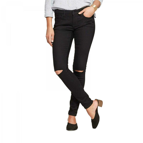 Universal Thread Women's Mid-Rise Slit Knee Skinny Jeans