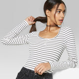 Wild Fable Women's Long Sleeve Ribbed Henley Button Scoop Neck T-Shirt Top