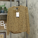 Who What Wear Women's Leopard Print Long Sleeve Banded Collared Blouse