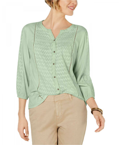 Style & Co. Women's Ladder Trim Bubble Sleeve Top. 100047897MS