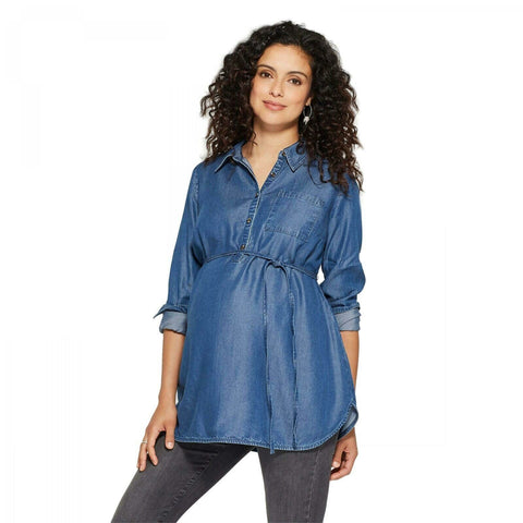 Isabel Maternity by Ingrid & Isabel Denim Long Sleeve Popover Tunic Top Shirt