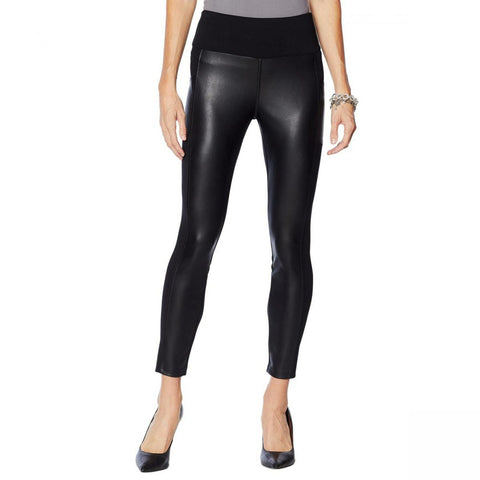 G by Giuliana Women's Faux Leather And Ponte Leggings
