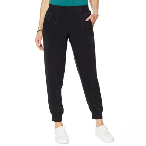 DG2 by Diane Gilman Women's Plus Size Faux Silk Pull On Jogger Pants