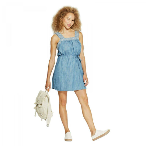 Universal Thread Women's Embroidered Denim Shift Sundress Sun Dress