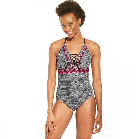 Kona Sol Women's Lace Up One Piece Swimsuit
