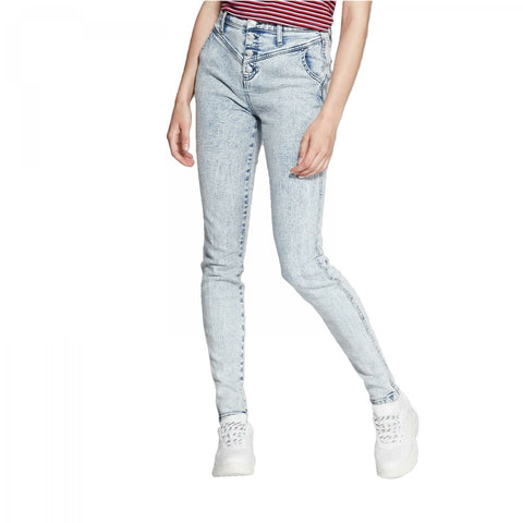 Wild Fable Women's High-Rise Button Fly Acid Wash Skinny Jeans