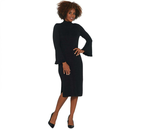 Isaac Mizrahi Live! Women's Bell Sleeve Sweater Dress. A343217