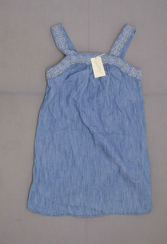Universal Thread Embroidered Denim Sheath Sundress Sun Dress Ashley Wash Blue