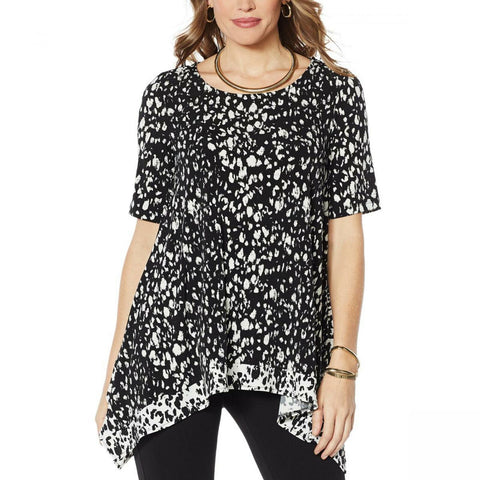 Nina Leonard Women's Miracle Matte Jersey Printed Layered Tunic Top
