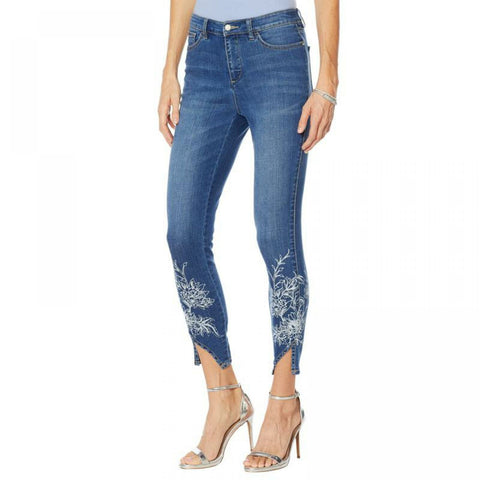 G by Giuliana Women's Downtown Denim Notched Hem Printed Skinny Jeans
