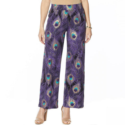 IMAN Women's Petite Global Chic Luxury Resort Peacock Print Palazzo Pants