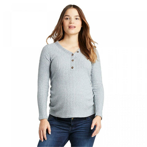 Isabel Maternity by Ingrid & Isabel Women's Long Sleeve V-Neck Henley Top