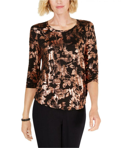 JM Collection Women's Petite Printed 3/4-Sleeve Top Blouse. 100033933PT